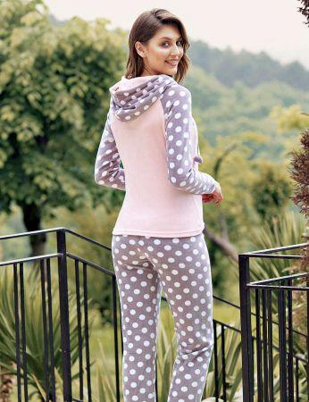 Mel Bee - Mel Bee Kapşonlu Puanlı Kadın Pijama Takımı Pembe MBP23635-1 (1)