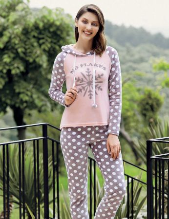 Mel Bee - Mel Bee Kapşonlu Puanlı Kadın Pijama Takımı Pembe MBP23635-1