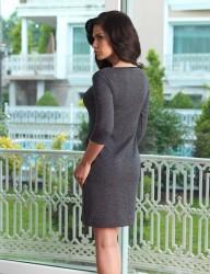 Mel Bee Kayık Yaka Bayan Ev Elbisesi Siyah MBP23031-1 - Thumbnail