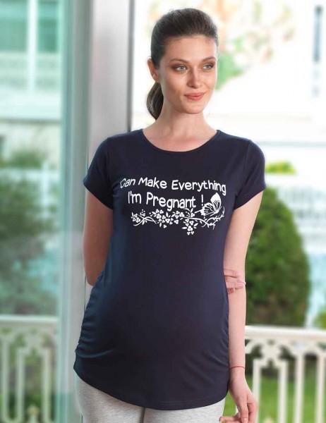 Mel Bee - Mel Bee Kelebek Baskılı Lohusa T-Shirt Lacivert MB4504