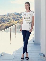 Mel Bee - Mel Bee Kemerli Kadın Taytlı Takım Beyaz MBP23328-1