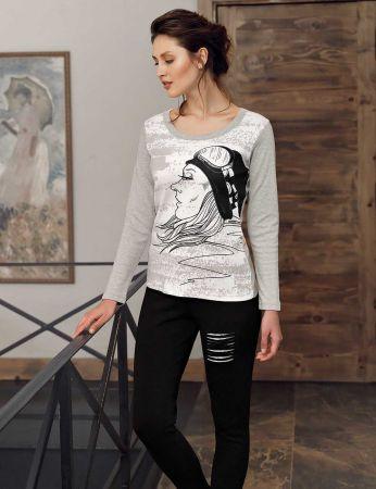 Mel Bee - Mel Bee Kız Baskılı Kadın Pijama Takımı Gri MBP23012-1