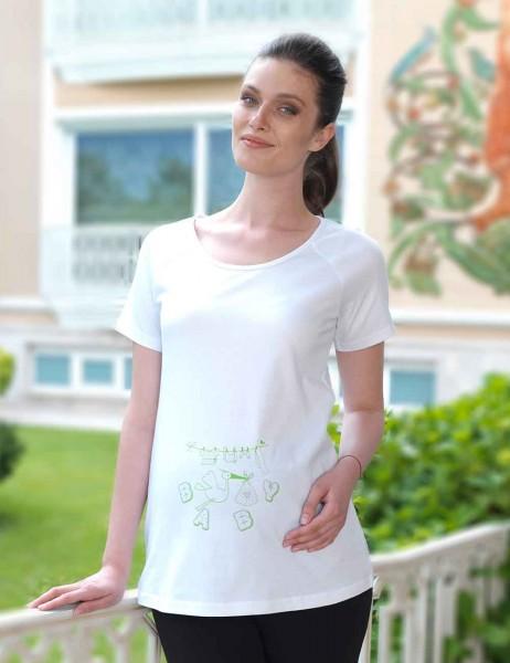 Mel Bee - Mel Bee Leylek Baskılı Lohusa T-Shirt Beyaz MB4502