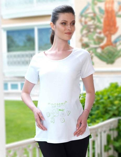 Mel Bee - Mel Bee Leylek Baskılı Lohusa T-Shirt Beyaz MB4502 (1)