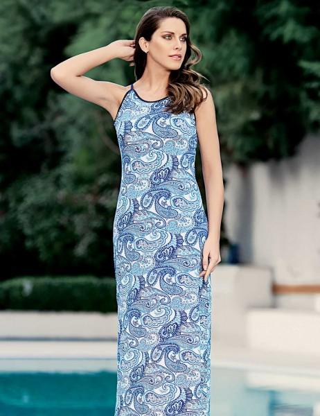 Mel Bee - Mel Bee Long Dress Float Patterned Blue MBP22712-1