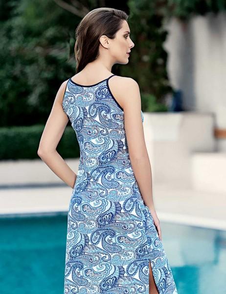 Mel Bee - Mel Bee Long Dress Float Patterned Blue MBP22712-1 (1)