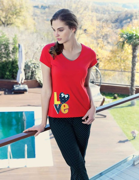 Mel Bee - Mel Bee Love Baskılı Kadın Pijama Takımı Kırmızı MBP23335-1