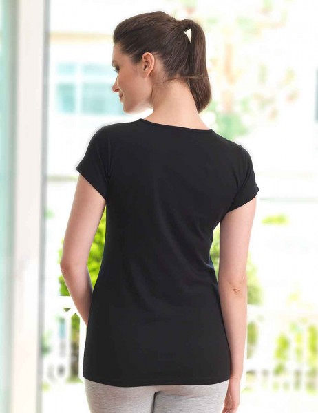 Mel Bee - Mel Bee LOVE Baskılı Lohusa T-Shirt Siyah MB4513 (1)