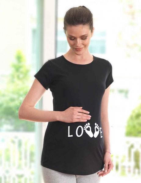 Mel Bee - Mel Bee LOVE Baskılı Lohusa T-Shirt Siyah MB4513