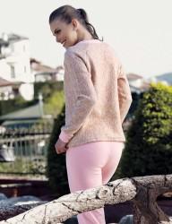 Mel Bee LOVE Kadın Pijama Takımı Bej MBP23619-1 - Thumbnail