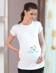 Mel Bee Maternity T-shirt BABY Printed White MB4510 - Thumbnail