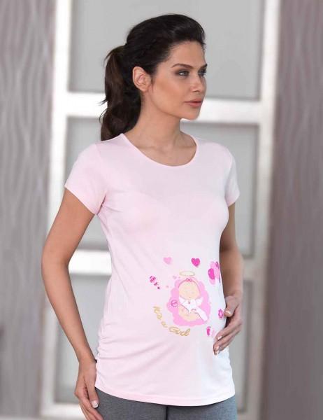 Mel Bee - Mel Bee Maternity T-shirt BALLOON Printed Pink MB4509