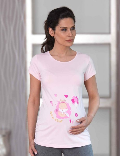 Mel Bee Maternity T-shirt BALLOON Printed Pink MB4509