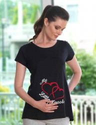 Mel Bee - Mel Bee Maternity T-shirt HEART Printed Black MB4508