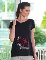 Mel Bee Maternity T-shirt HEART Printed Black MB4508 - Thumbnail