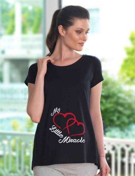 Mel Bee Maternity T-shirt HEART Printed Black MB4508