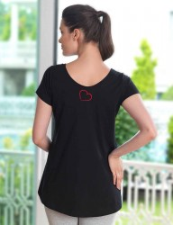Mel Bee Maternity T-shirt HEART Printed Black MB4508 - Thumbnail