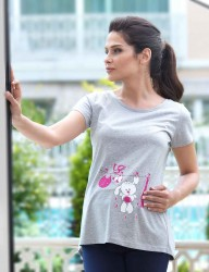 Mel Bee - Mel Bee Maternity T-shirt RABBIT Printed Gri MB4507