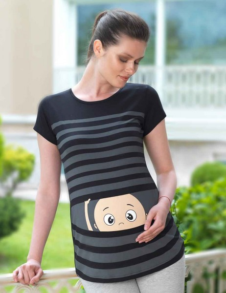 Mel Bee - Mel Bee Maternity T-shirt Stripe Printed Black MB4503