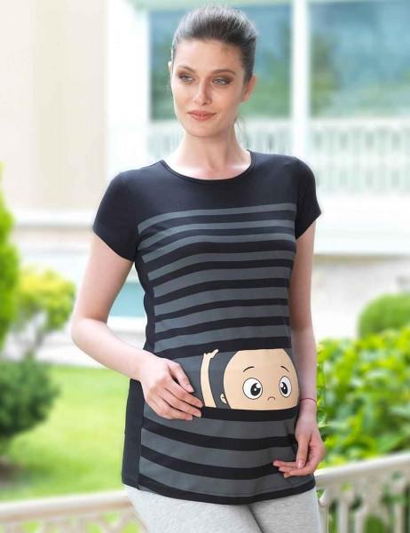 Mel Bee Maternity T-shirt Stripe Printed Black MB4503