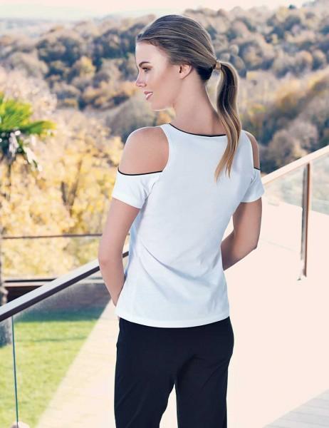 Mel Bee - Mel Bee Omuz Açık Kadın Pijama Takımı Beyaz MBP23330-1 (1)