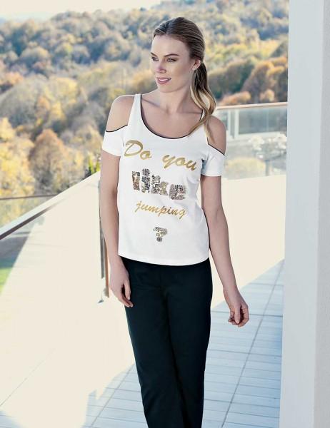 Mel Bee - Mel Bee Omuz Açık Kadın Pijama Takımı Beyaz MBP23330-1