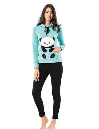 Mel Bee - Mel Bee Panda Baskılı Kadın Pijama Takımı Mint MBP23617-1