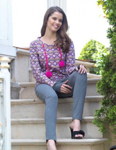 Mel Bee - Mel Bee Pattern Women Pajama Set Grey MBP23002-1