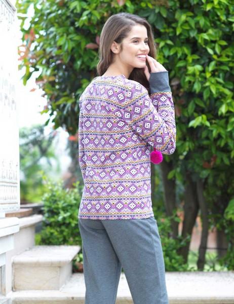 Mel Bee - Mel Bee Pattern Women Pajama Set Grey MBP23002-1 (1)