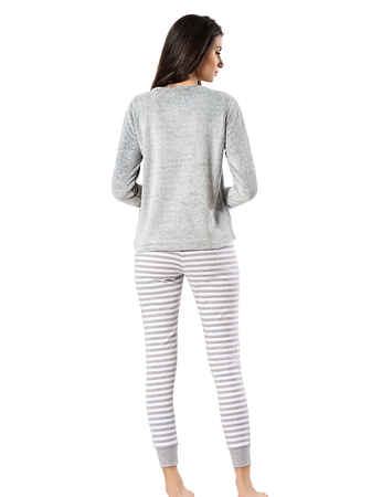 Mel Bee - Mel Bee Peluş Pijama Takımı Gri MBP23621-1 (1)