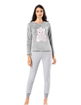 Mel Bee Peluş Pijama Takımı Gri MBP23621-1 - Thumbnail