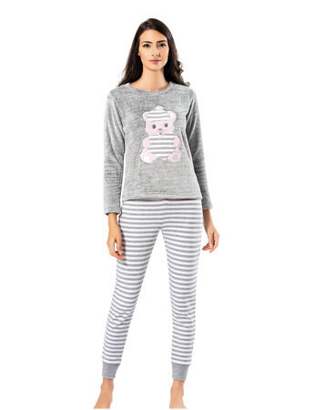 Mel Bee Peluş Pijama Takımı Gri MBP23621-1