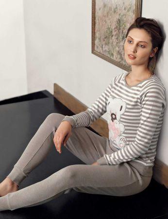 Mel Bee - Mel Bee Peluş Pijama Takımı Vizon MBP23603-2