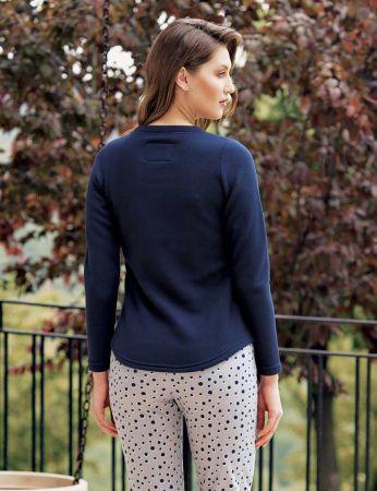 Mel Bee - Mel Bee Penguen Printed Women Pajama Set Navy Blue MBP23618-1 (1)