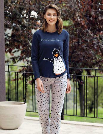 Mel Bee - Mel Bee Penguen Printed Women Pajama Set Navy Blue MBP23618-1