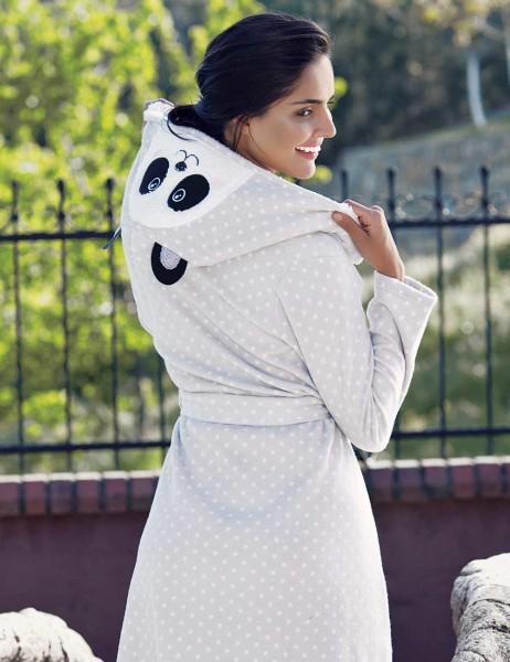 Mel Bee - Mel Bee Polka Dot Polar Morning Gown Grey-White MBP23625-1 (1)