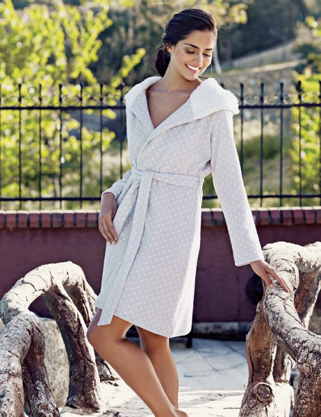 Mel Bee - Mel Bee Polka Dot Polar Morning Gown Grey-White MBP23625-1