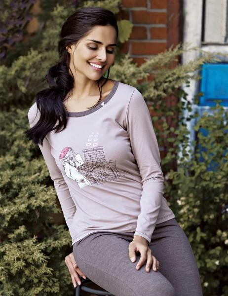 Mel Bee - Mel Bee Printed Women Pajama Set Brown MBP23015-1