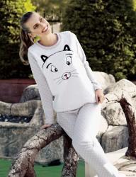 Mel Bee Puan Baskılı Kadın Pijama Takımı Ekru MBP23624-1 - Thumbnail