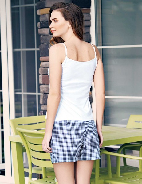Mel Bee - Mel Bee Rose Pattern Strap Shirt andShort Set Navy Blue MBP23318-2 (1)