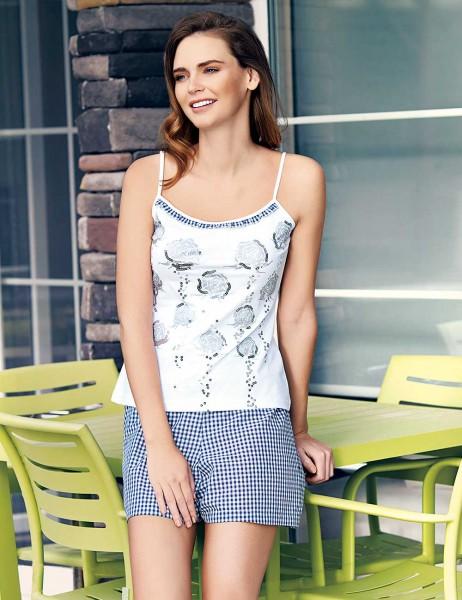 Mel Bee - Mel Bee Rose Pattern Strap Shirt andShort Set Navy Blue MBP23318-2