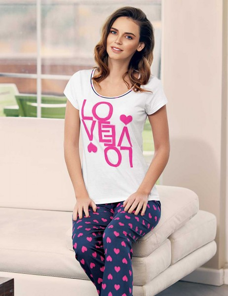 Mel Bee Spotted Women Pyjama Set White MBP23334-1