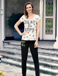 Mel Bee - Mel Bee Star Printed Women Pajama Set Black MBP23329-1