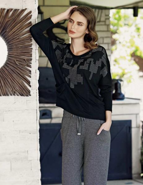 Mel Bee - Mel Bee Stone Print Women Pajama Set Black MBP23607-1