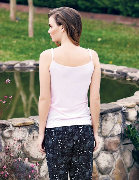 Mel Bee - Mel Bee Strap Shirt Capri Set Pink MBP23311-1 (1)