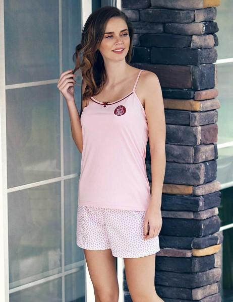 Mel Bee - Mel Bee Strap Shirt Short Set Powder MBP23312-1