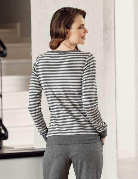 Mel Bee - Mel Bee Stripe Women Pajama Set Dark Grey MBP23601-1 (1)