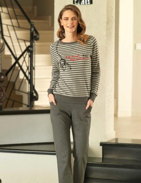 Mel Bee - Mel Bee Stripe Women Pajama Set Dark Grey MBP23601-1