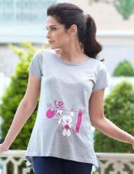 Mel Bee Tavşan Baskılı Lohusa T-Shirt Gri MB4507 - Thumbnail