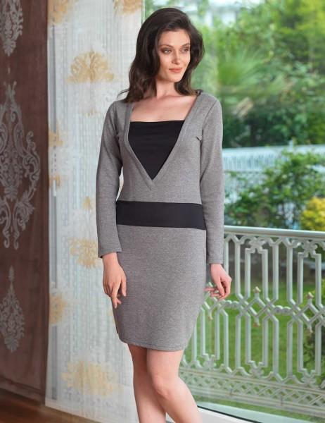 Mel Bee - Mel Bee Women Deep Neck Nightgown Grey MBP23030-1